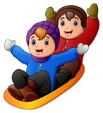 Children in winter clothes playing a sledge. Illustration of Children in winter clothes playing a sledge Royalty Free Stock Photography