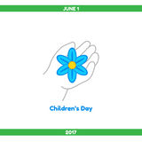 Illustration. Childrens Day. Happy Childrens Day. The child& x27;s hand holds a blue flower, a symbol of innocence Stock Photo