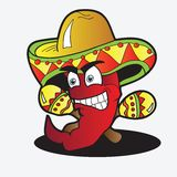 Illustration of a Chili Character with a Pair of Maracas Stock Photos