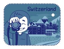 Illustration with Chillon Castle in Switzerland Royalty Free Stock Images