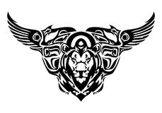 Chimera head tattoo. Illustration of a chimera head tattoo in isolated white background Royalty Free Stock Image