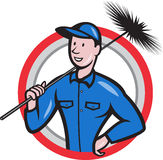 Chimney Sweeper Cleaner Worker Retro. Illustration of a chimney sweeper cleaner worker with sweep broom viewed from front set inside circle done in cartoon style Royalty Free Stock Photography