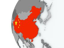 China on globe with flag Royalty Free Stock Photography