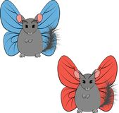 Illustration chinchilla with butterfly wings isolated on white royalty free stock photos