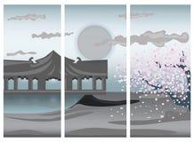 Illustration of Chinese colorful landscape stock illustration