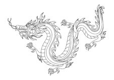 Illustration of Chinese dragon. Coloring page for printing and drawing. Traditional China symbol. Asian mythological black animal royalty free illustration