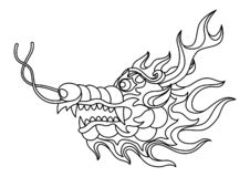 Illustration of Chinese dragon head. Coloring page for printing and drawing. Traditional China symbol. Asian mythological black animal royalty free illustration