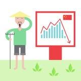Illustration of chinese economy crysis. Royalty Free Stock Photography