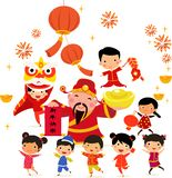 Chinese New Year Design with God of Wealth and children. Illustration of Chinese New Year Design with God of Wealth and children royalty free illustration