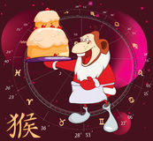 Illustration of a Chinese New Year 2016. Year of the Monkey. Cartoon Character. Royalty Free Stock Image