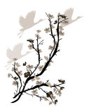 Illustration with Chinese Plum tree and crane birds. Royalty Free Stock Images