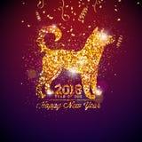 Illustration 2018 Chinesischen Neujahrsfests mit hellem Symbol Lizenzfreie Stockbilder