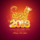 Illustration 2018 Chinesischen Neujahrsfests mit hellem Symbol auf glänzendem Feier-Hintergrund Jahr des Hundevektor-Designs Lizenzfreie Stockfotografie