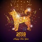 Illustration 2018 Chinesischen Neujahrsfests mit hellem Symbol auf glänzendem Feier-Hintergrund Jahr des Hundevektor-Designs Stockfoto