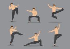 Illustration chinoise de caractère de vecteur de combattant d'arts martiaux Photographie stock libre de droits