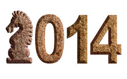 2014 illustration chinoise de pierre de burin du cheval 3D Images stock