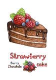 Illustration of chocolate cake with berries Royalty Free Stock Image