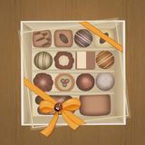 Chocolates in the box. Illustration of chocolates in the box Stock Images