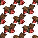 Illustration. Chocolates with strawberries. For you happy holiday. Seamless pattern. Illustration. Chocolates with strawberries. For you happy holiday. Seamless Stock Photos