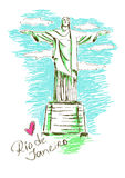 Illustration of Christ the redeemer in Rio de Janeiro Stock Photos