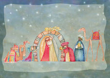 Illustration of Christian Christmas Nativity scene with the three wise men. Watercolor Stock Photo
