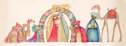 Illustration of Christian Christmas Nativity scene with the three wise men. Watercolor Royalty Free Stock Photography