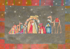 Illustration of Christian Christmas Nativity scene with the three wise men. Watercolor Stock Photos