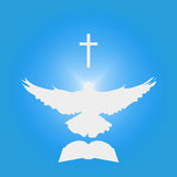 Illustration for Christian Community: Dove as Holy spirit, cross, Bible. Great as church logo, illustration for sermon, oration, lecture, or pentecost talk Stock Image