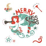 Christmas angel illustration. Illustration with Christmas angel with wings playing the flute and with lettering that says merry Christmas. For postcards, posters Stock Image