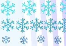 Illustration of Christmas background with blue and white snowflakes in various styles. White background and blue snowflakes. Illustration of Christmas background Royalty Free Stock Images