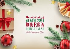 Christmas background with fir branches and christmas decoration. Illustration of Christmas background with fir branches and christmas decoration Stock Photography