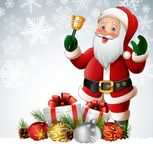 Christmas background with santa claus ringing bell. Illustration of Christmas background with santa claus ringing bell Royalty Free Stock Photography