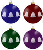 Illustration of christmas balls with bells in 4 colours. Blue, burgundy, green and violet Royalty Free Stock Photography