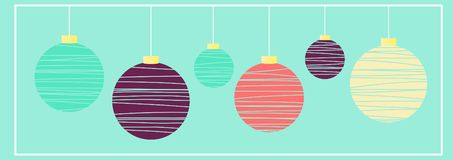 Illustration of christmas balls. Holiday decorations. Perfect for  background, postcard, greeting royalty free illustration