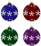 Illustration of christmas balls with snowflakes in 4 colours. Blue, burgundy, green and violet Stock Images