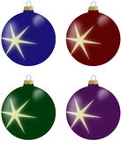 Illustration of christmas balls with star in 4 colours. Blue, burgundy, green and violet Royalty Free Stock Image