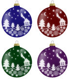 Illustration of christmas balls with winter scenery in 4 colours. Blue, burgundy, green and violet Stock Photos