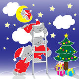 Illustration of Christmas bears at midnight Stock Image