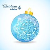 Illustration Christmas blue ball isolated on white. Background - vector Royalty Free Stock Photo