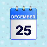 Illustration of Christmas calendar icon. Vector in blues tones with snowflakes on a blue winter sky. The template can be used for any design,especially on web Stock Photo