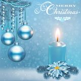 Christmas card with a candle balls vector illustration