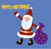 Illustration Christmas card with Santa Claus Stock Photos