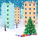 Illustration for christmas. Christmas tree, gifts, snowflakes. royalty free illustration