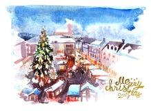 Illustration christmas city Royalty Free Stock Image