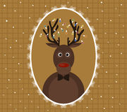 Illustration of Christmas deer with garland on horns in patterned frame Stock Photography