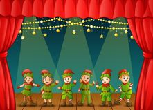 Christmas elves performing on stage. Illustration of Christmas elves performing on stage stock illustration