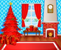 Christmas fireplace with xmas tree, presents and armchair. Illustration of Christmas fireplace with xmas tree, presents and armchair Royalty Free Stock Photography