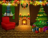 Christmas fireplace with xmas tree, presents and armchair. Illustration of Christmas fireplace with xmas tree, presents and armchair Stock Photo
