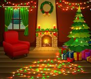 Christmas fireplace with xmas tree, presents and armchair. Illustration of Christmas fireplace with xmas tree, presents and armchair Stock Photography