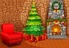 Christmas fireplace with xmas tree, presents and armchair. Illustration of Christmas fireplace with xmas tree, presents and armchair Stock Photos